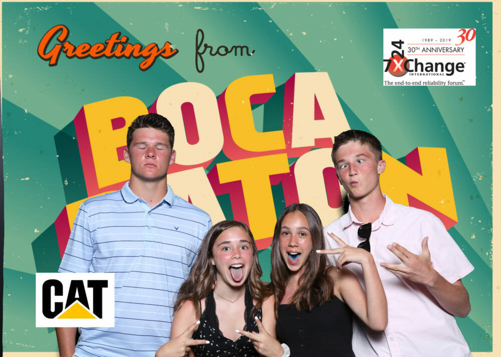 Onsite Green Screen Photography and Social Media station image of kids and Boca Raton Background