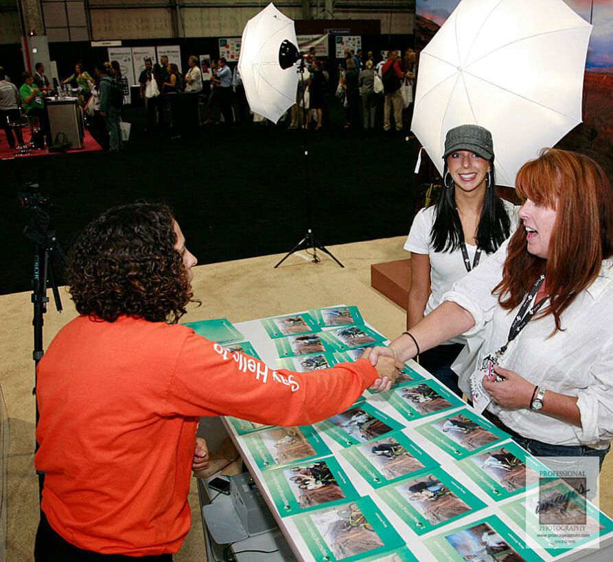 Onsite Printing and social media station photography of attendees picking of their branded photo