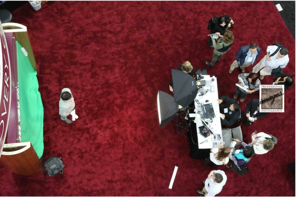 photo of overhead image showing a Green Screen Onsite Printing Photography station in San Diego Convention Center