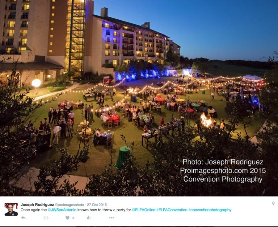 San Antonio Convention Event Photography for evening reception at JW Marriott Hill Country San Antonio.