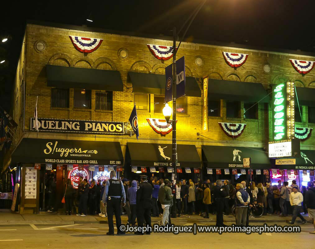 Bar Scene at night after a Chicago Cubs game next to Wrigley Field