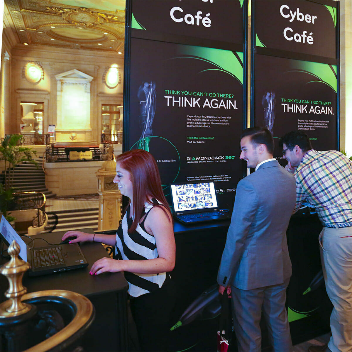 Chicago Convention Photography of Attendees using Cyber Cafe at Medical Convention