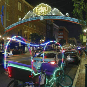 Gaslamp District with lighted buggy in foreground in San Diego, CA