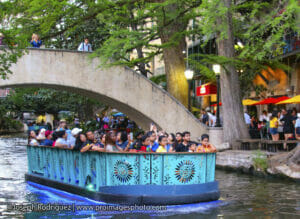 San Antonio Riverwalk River Barge Cruise with Convention attendees.