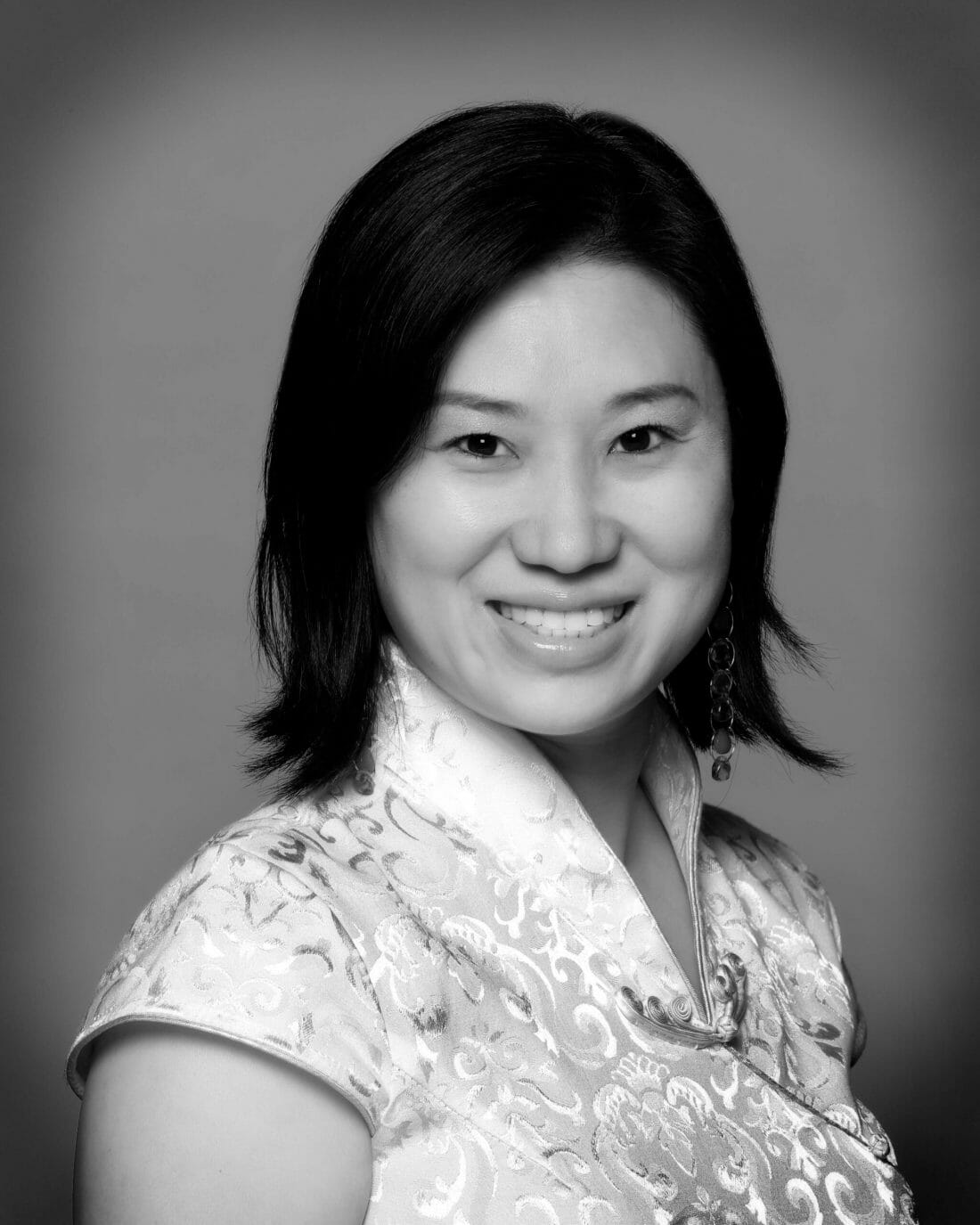 Black and White headshot photography of Asian Woman