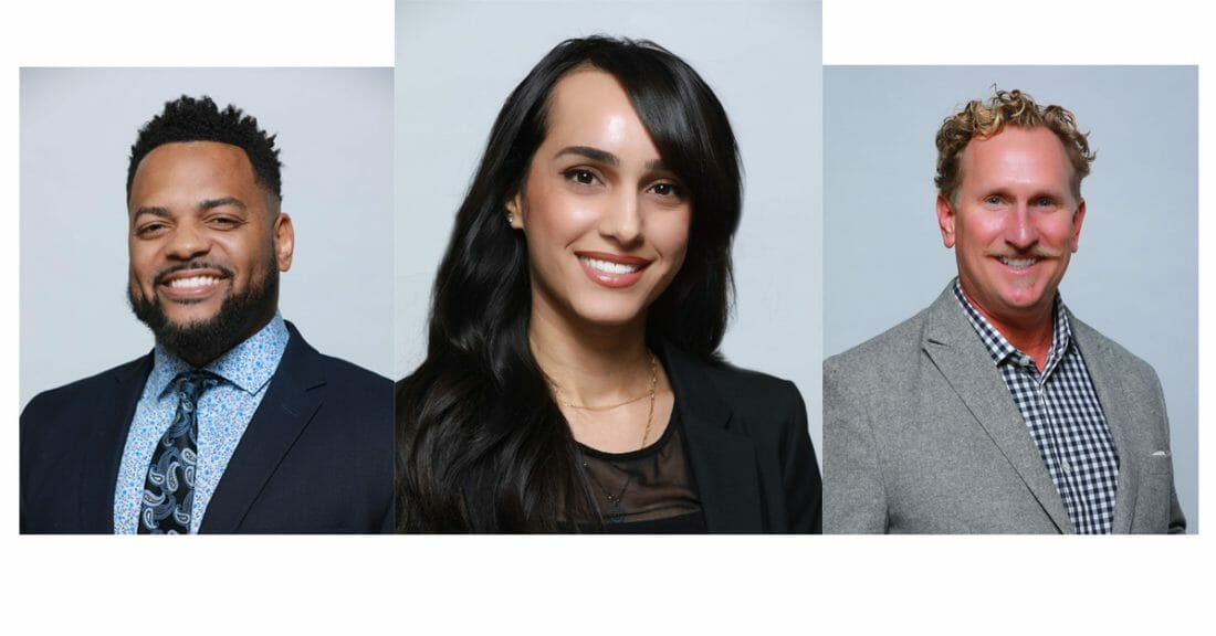 Headshot photography of young black Male, young Persian Female and White Male